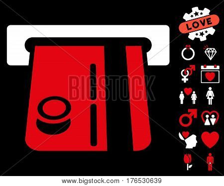 Bank Terminal pictograph with bonus valentine pictograph collection. Vector illustration style is flat iconic symbols on white background.