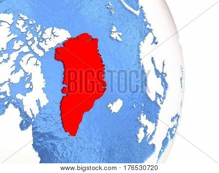 Greenland On Shiny Globe With Water