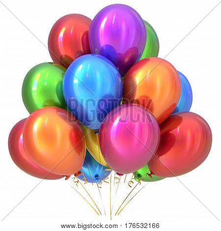 Balloons happy birthday party decoration colorful multicolored. 3D illustration isolated on white