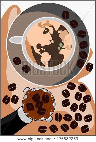 World of cappuccino coffee with shiny dark roasted Italian coffee beans. Aroma and flavor coffee beverage.