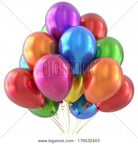 Happy birthday balloons party decoration colorful multicolored.  3D illustration isolated