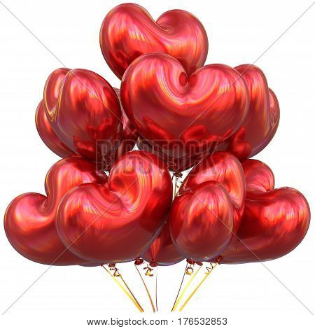 Red balloons love heart shaped happy birthday party event decoration glossy 3D illustration