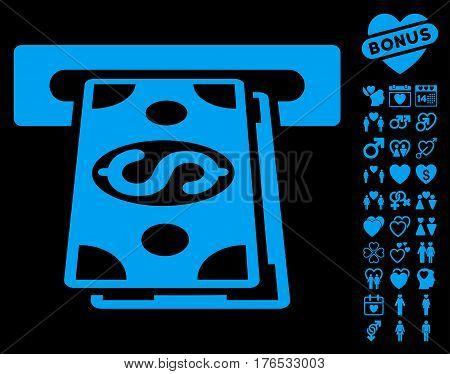 Cash Withdraw icon with bonus romantic images. Vector illustration style is flat iconic symbols on white background.