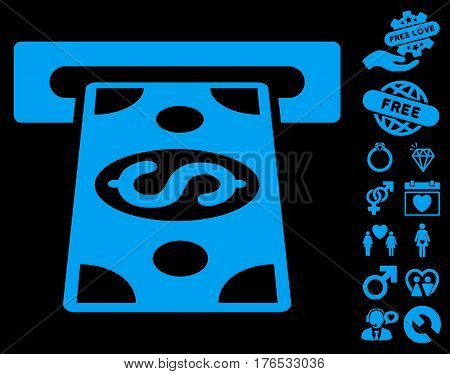 Cash Withdraw icon with bonus lovely pictures. Vector illustration style is flat iconic symbols on white background.