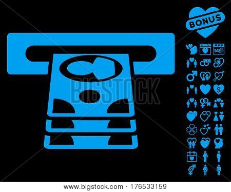 Cashpoint pictograph with bonus amour pictograph collection. Vector illustration style is flat iconic symbols on white background.