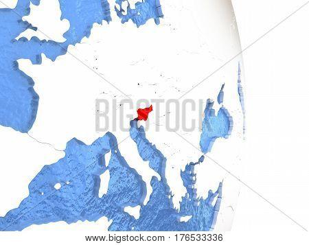 Slovenia On Shiny Globe With Water