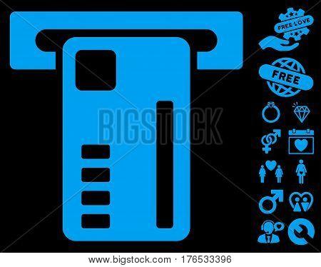 Ticket Machine icon with bonus romantic graphic icons. Vector illustration style is flat iconic symbols on white background.