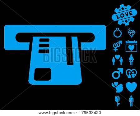 Ticket Terminal icon with bonus decoration pictograph collection. Vector illustration style is flat iconic symbols on white background.