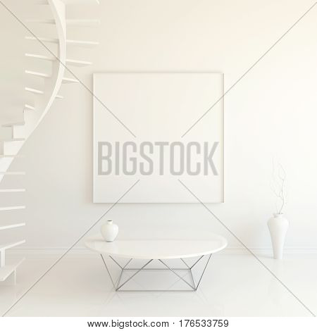 Interior mockup illustration with spiral staircase, 3d render, white wall with blank board