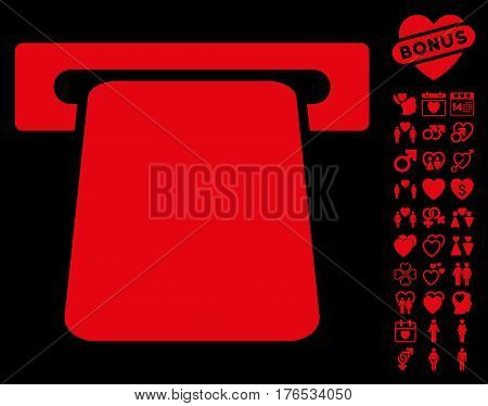 Bank ATM pictograph with bonus lovely pictograms. Vector illustration style is flat iconic symbols on white background.