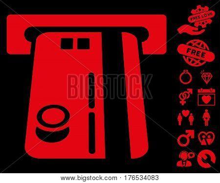 Bank ATM icon with bonus decoration icon set. Vector illustration style is flat iconic symbols on white background.