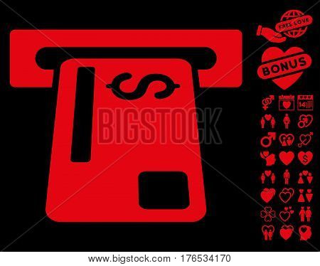 Bank Card Terminal pictograph with bonus valentine pictograph collection. Vector illustration style is flat iconic symbols on white background.