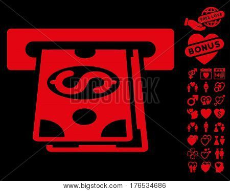 Cash Machine pictograph with bonus decorative pictograph collection. Vector illustration style is flat iconic symbols on white background.