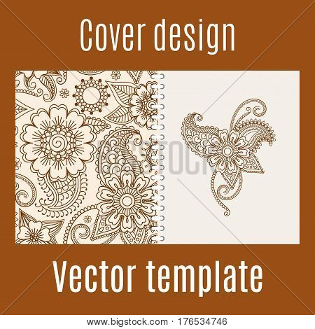 Cover design for print with henna mehendi pattern. Vector illustration
