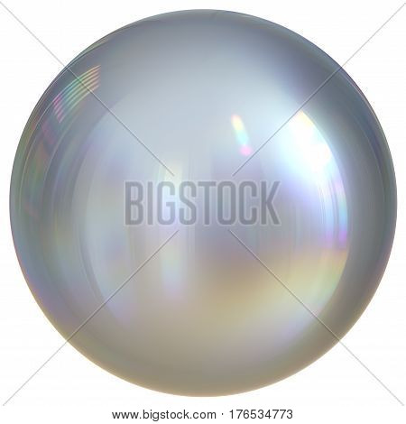 Ball sphere silver white round button chrome basic circle geometric shape. 3d illustration isolated
