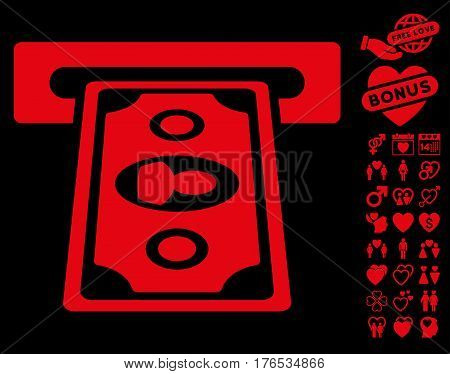 Cashpoint Terminal pictograph with bonus romantic pictograph collection. Vector illustration style is flat iconic symbols on white background.