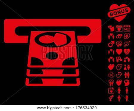 Cashpoint icon with bonus romantic pictures. Vector illustration style is flat iconic symbols on white background.