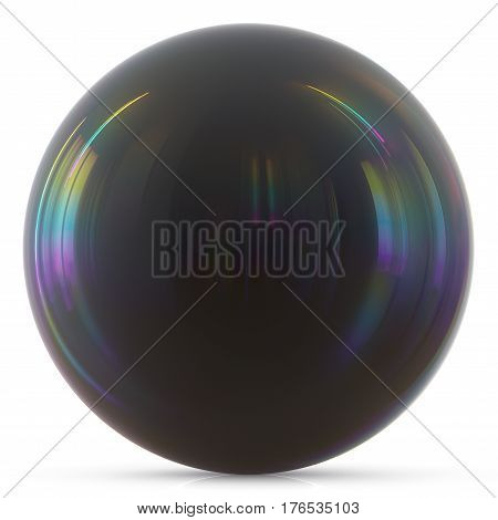 Ball black sphere round button basic circle dark geometric shape solid 3d render illustration isolated