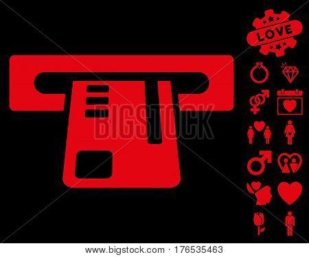 Ticket Terminal pictograph with bonus romantic icon set. Vector illustration style is flat iconic symbols on white background.