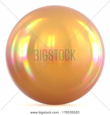 Golden ball sunny yellow sphere round button basic circle geometric shape solid figure 3D