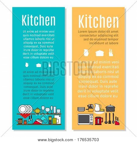 Kitchen flyers in cartoon style with dishes and kitchen equipment. Vector illustration