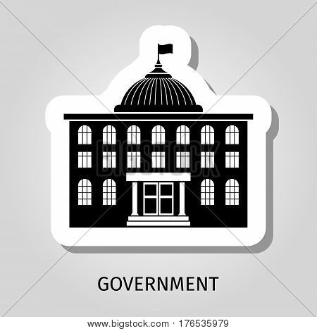 Black government building silhouette vector web sticker icon