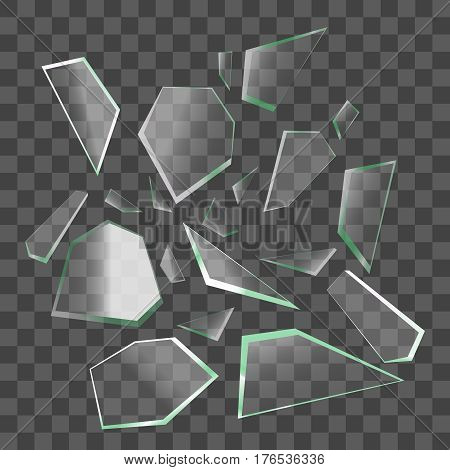 Realistic Shards of Broken Glass on Transparent Background Sharp Piece. Vector illustration