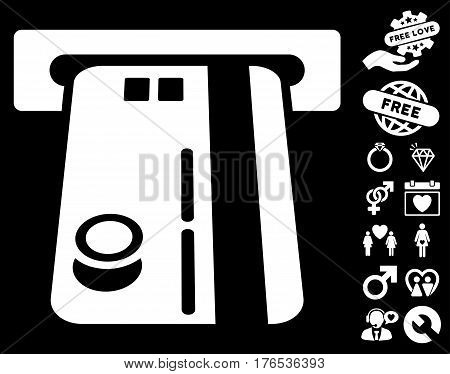 Bank ATM pictograph with bonus amour pictures. Vector illustration style is flat iconic symbols on white background.