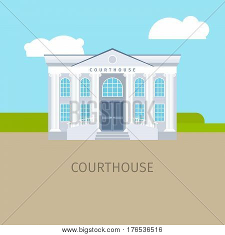 Colored courthouse building with sky and clouds, vector illustration