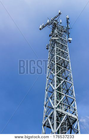 Telecommunications antenna for radio television and telephony against clear sky