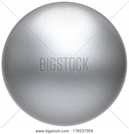 Silver sphere round white button ball basic matted metallic circle geometric shape 3D illustration isolated