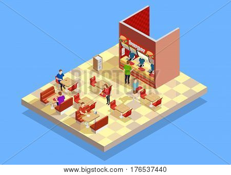 Food court interior counter area elements with vendor customers buying and eating at tables isometric vector illustration