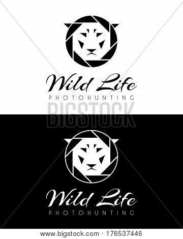 Logo with the diaphragm of the camera and the muzzle of a lion. Vector illustration.