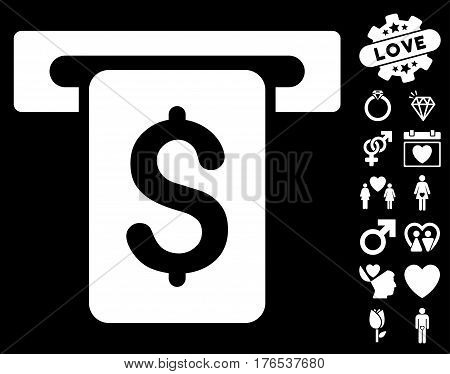 Cash Withdraw pictograph with bonus love design elements. Vector illustration style is flat iconic symbols on white background.