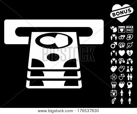Cashpoint icon with bonus decorative symbols. Vector illustration style is flat iconic symbols on white background.