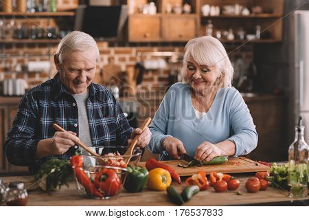 Portrait Of Senior Woman Cutting Cucumbers While Husband Mixing Vegetables For Salad