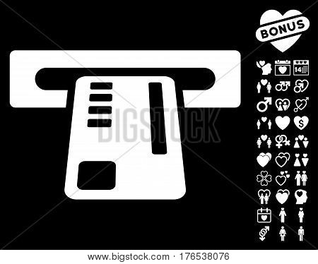 Ticket Machine pictograph with bonus decorative design elements. Vector illustration style is flat iconic symbols on white background.