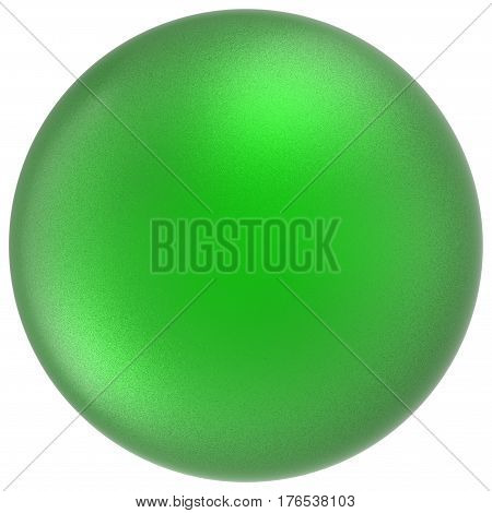 Green sphere round button ball basic matted circle geometric shape solid figure 3D render illustration isolated