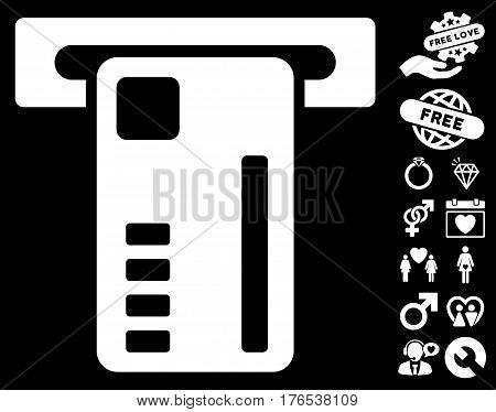 Ticket Machine pictograph with bonus decoration images. Vector illustration style is flat iconic symbols on white background.