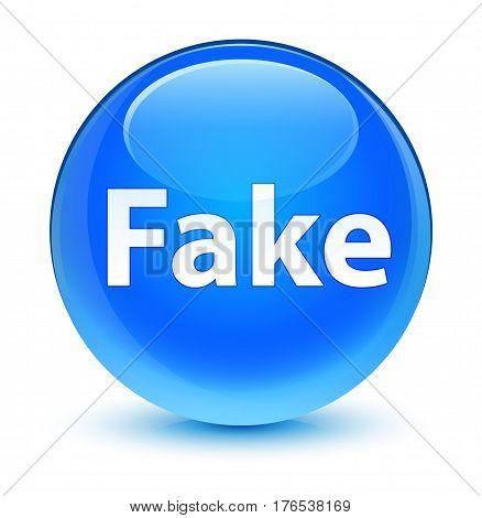 Fake Glassy Cyan Blue Round Button