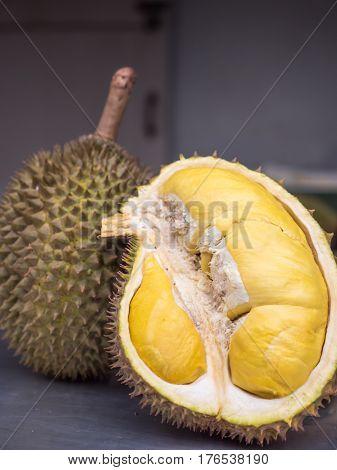 Ripe yellow durian , Thai tropical fruit