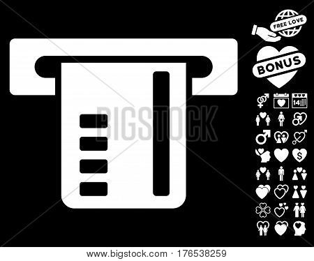 Ticket Terminal pictograph with bonus romantic images. Vector illustration style is flat iconic symbols on white background.
