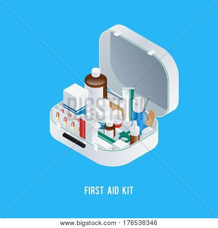 Pharmacy aid kit composition with isometric image of medicine box filled with different drugs and medication vector illustration