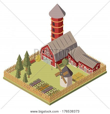 Farm isometric design with red barn and silo shed windmill garden beds and trees vector illustration