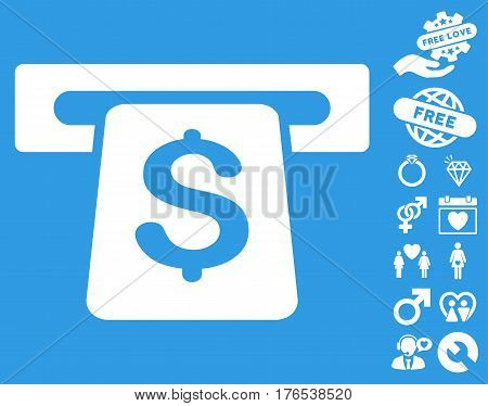 ATM pictograph with bonus amour pictograms. Vector illustration style is flat iconic symbols on white background.