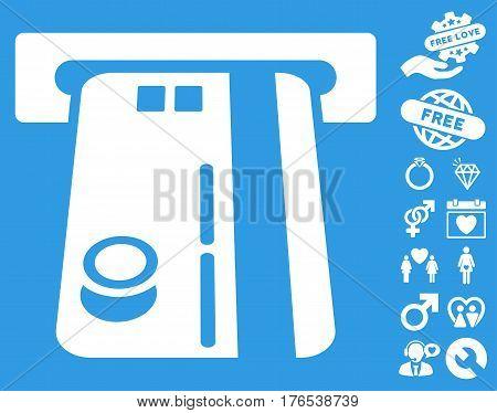 Bank ATM icon with bonus decorative images. Vector illustration style is flat iconic symbols on white background.