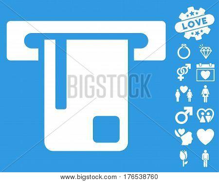 Bank ATM icon with bonus lovely symbols. Vector illustration style is flat iconic symbols on white background.