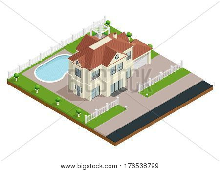 Suburb house building isometric composition with swimming pool and fence vector illustration