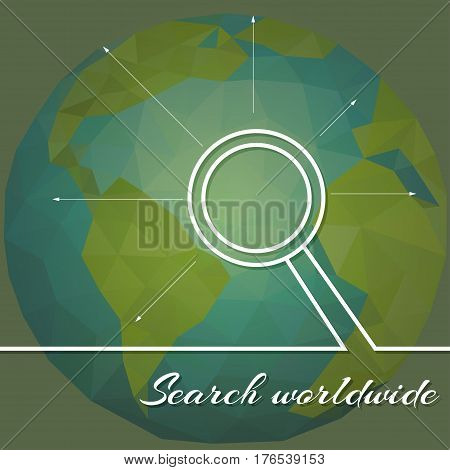 Abstract illustration planet earth on background of business devices. Search worldwide.