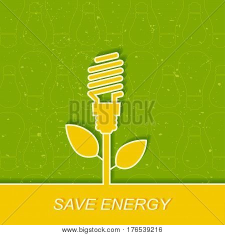 Green electric bulb, energy saving. Energy saving fluorescent light bulb icon. Concept of big ideas inspiration invention, effective thinking.Outline.